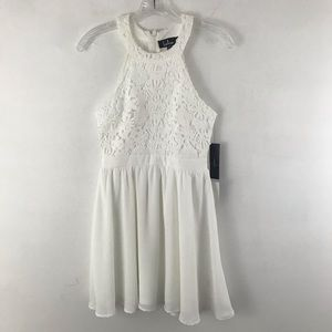 LULU'S lovers game white lace skater dress XS NWT